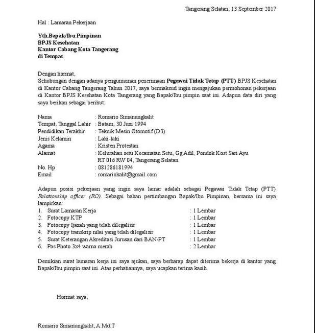Surat Lamaran BPJS Kesehatan