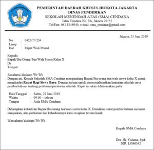 contoh surat resmi sekolah