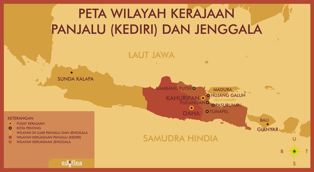 peta wilayah kekuasaan Kerajaan Kediri dan Kerajaan Jenggala