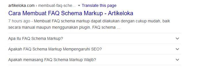Hasil pemasangan FAQ schema markup
