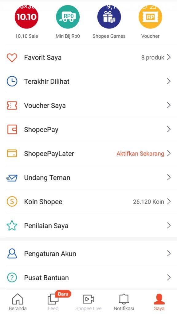 Cara Mengaktifkan Shopee PayLater 1